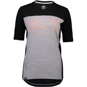 Mons Royale Phoenix Enduro V-Neck Tee Dame black/grey marl